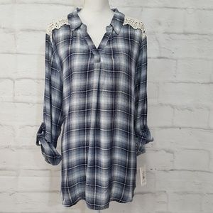 Style & Co Plaid and Lace Tunic Blouse Sz XXL